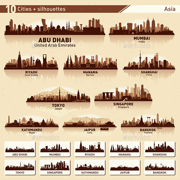 City Skyline Set Asia Silhouettes - Buildings Objects