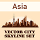 City Skyline Set Asia Silhouettes - GraphicRiver Item for Sale