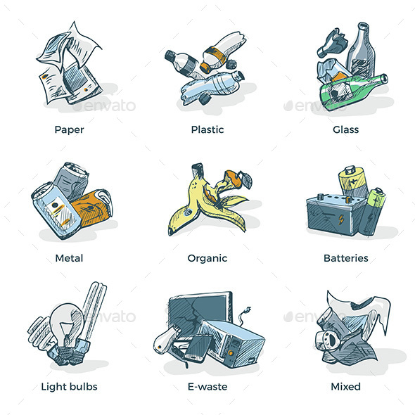 Hand Drawing of Trash Waste Recycling Categories Types - Miscellaneous Vectors