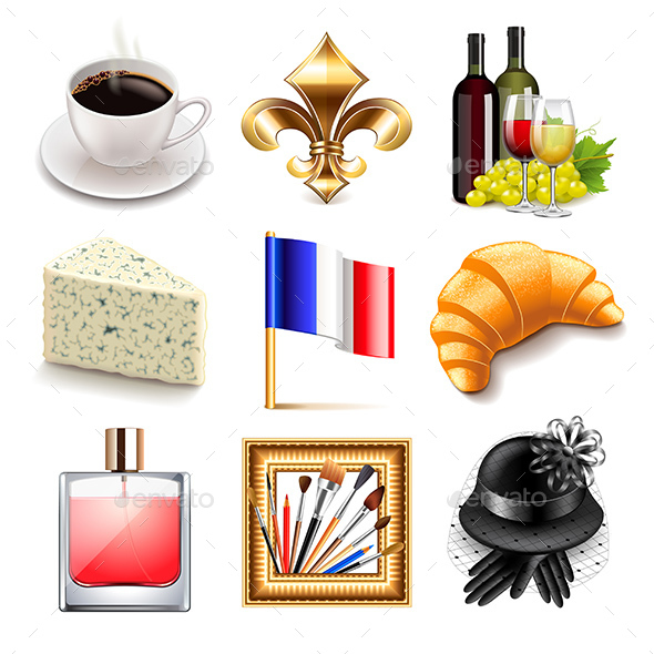 France Icons Vector Set - Travel Conceptual