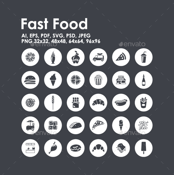 30 Fast Food icons - Food Objects