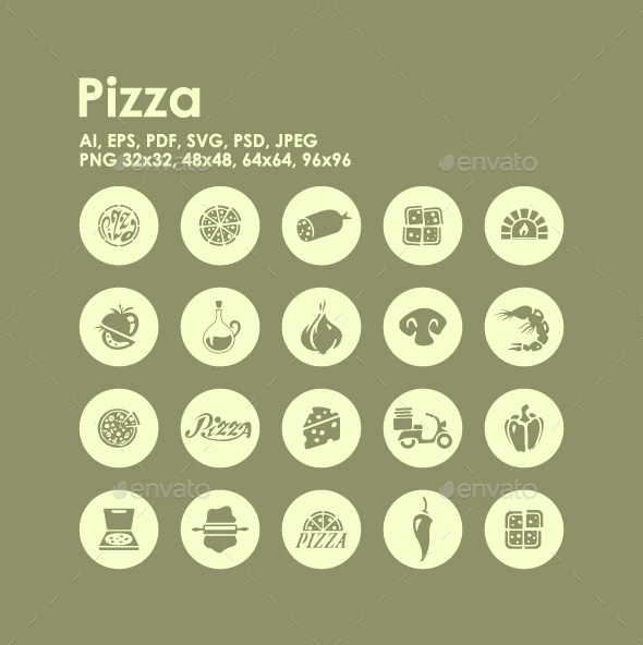 20 Pizza icons - Food Objects