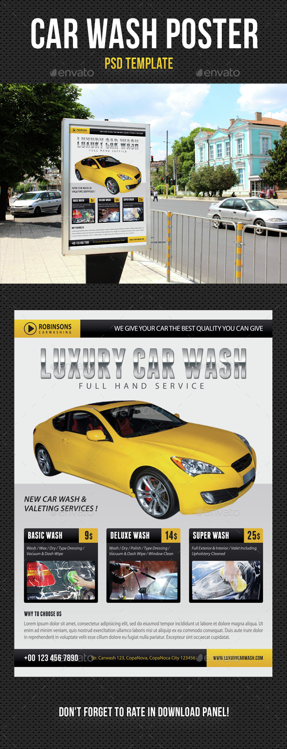 Car Wash Poster 03 - Signage Print Templates
