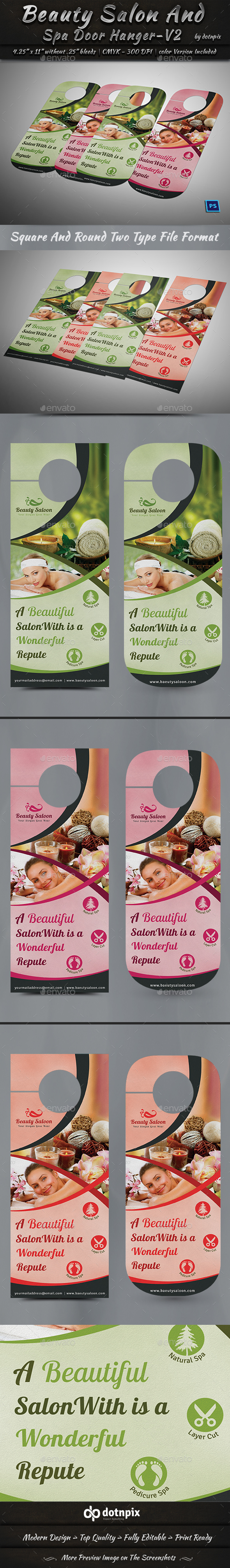 Beauty Salon And Spa Door Hanger_V2 - Miscellaneous Print Templates