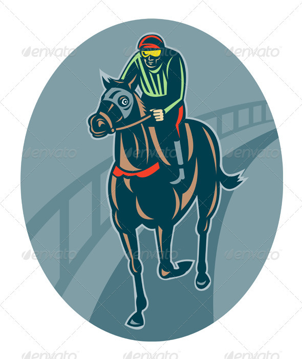 Jockey And Horse Racing Retro Style - People Characters