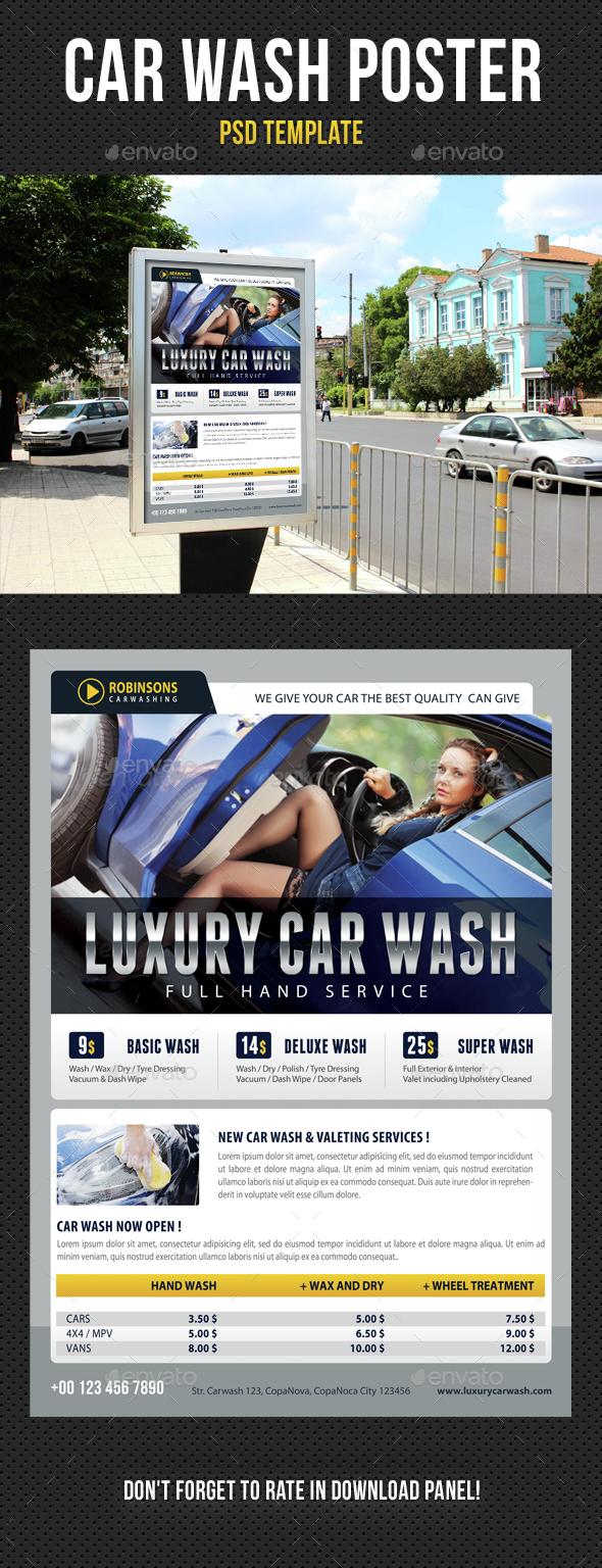 Car Wash Poster 04 - Signage Print Templates