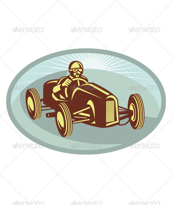 Vintage Race Car Driver Racing Retro - Sports/Activity Conceptual