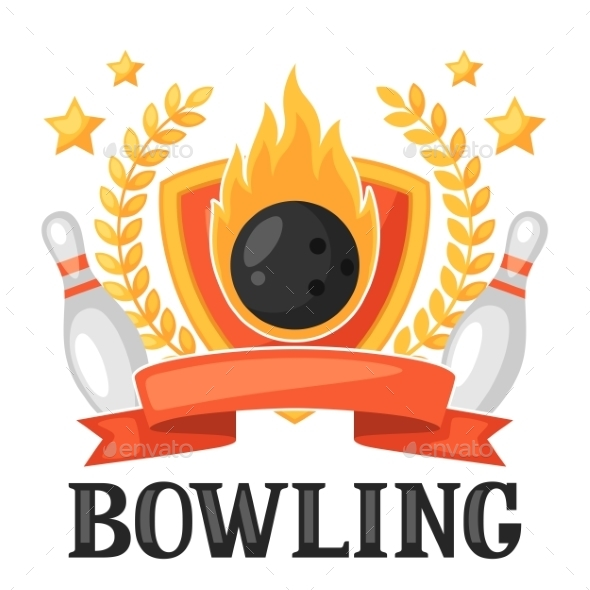 Bowling Emblem with Game Objects - Sports/Activity Conceptual