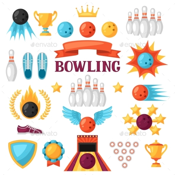 Set of Bowling Game Items - Sports/Activity Conceptual