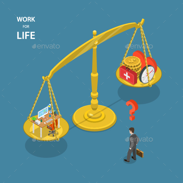 Work for Life Isometric Flat Illustration - Concepts Business