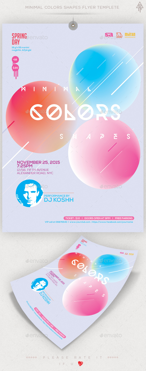 Minimal Colors Shapes Flyer - Events Flyers