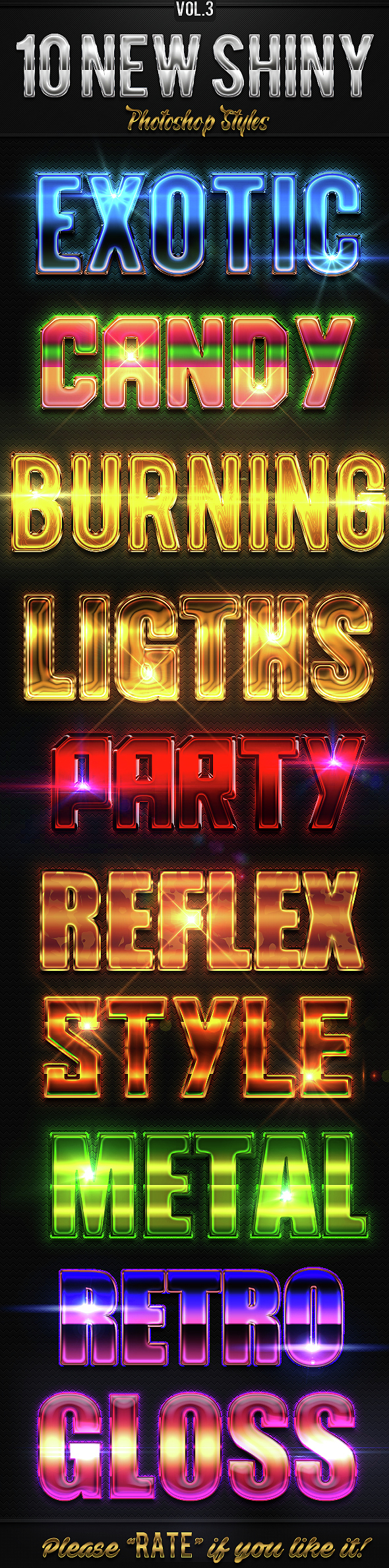 10 New Shiny Photoshop Styles Vol.3 - Text Effects Styles