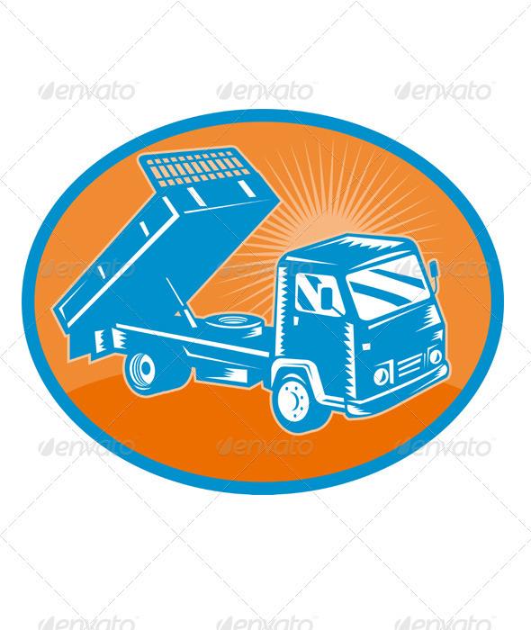 Dump Truck Tipper Retro Style - Industries Business