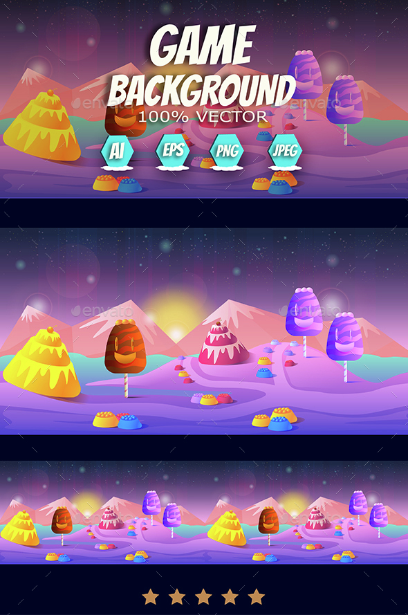 Candyland Game Landscape - Backgrounds Game Assets