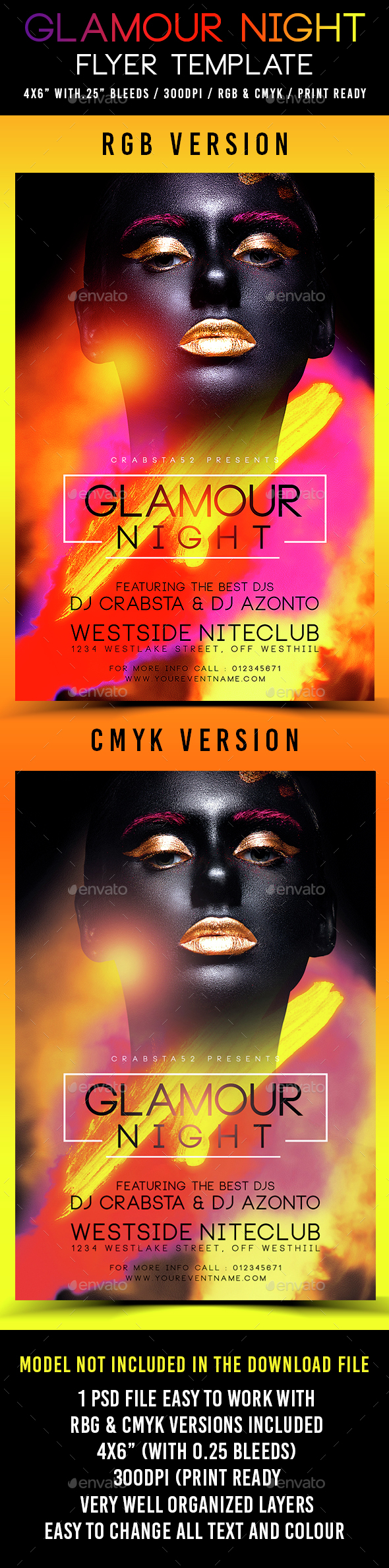 Glamour Night Flyer Template - Clubs & Parties Events