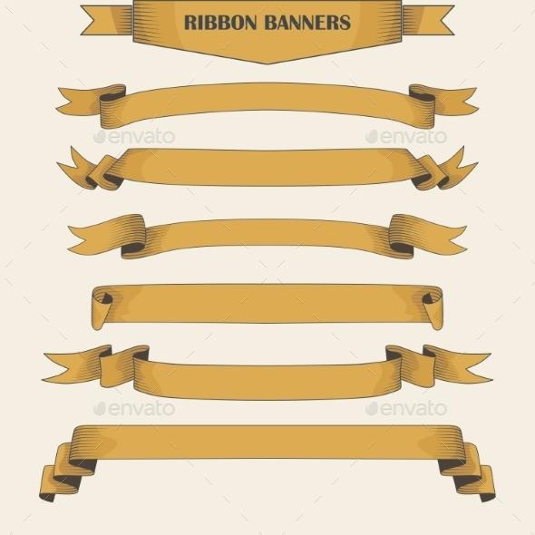 Vintage Ribbon Banners - Decorative Symbols Decorative