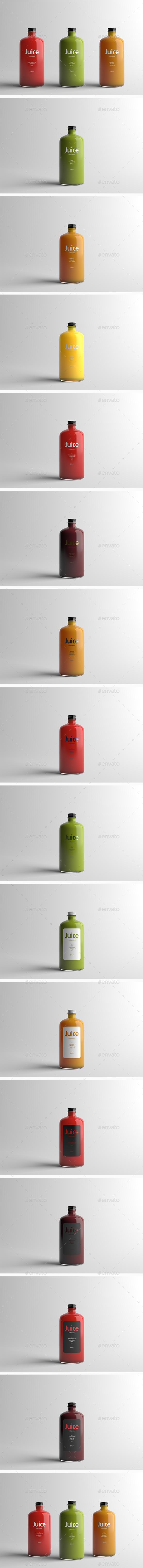 Juice Bottle Packaging Mock-Up - Food and Drink Packaging