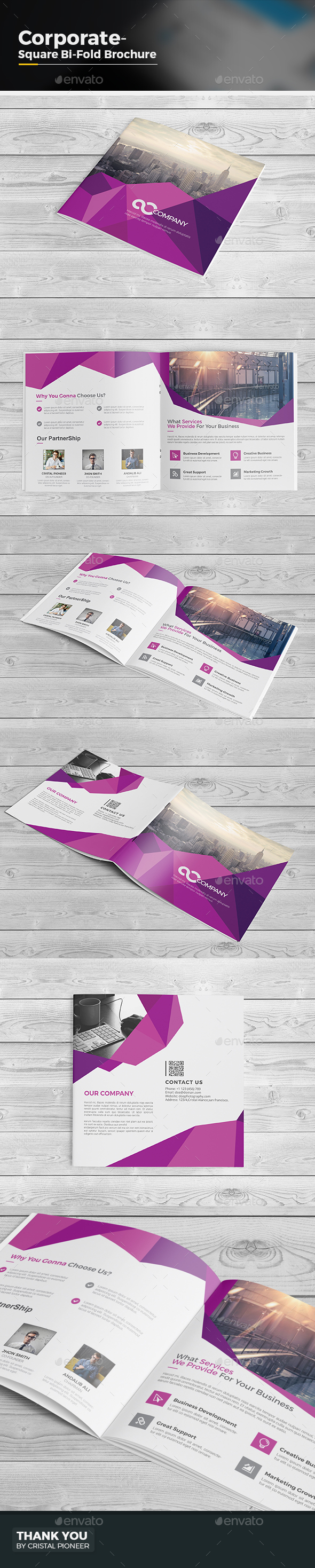 Abstract Square Bi Fold Brochure - Corporate Brochures
