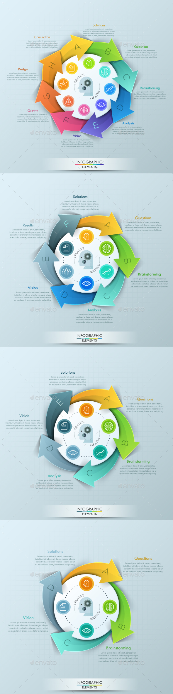 Modern Infographic Cycle Template (4 Items) - Infographics
