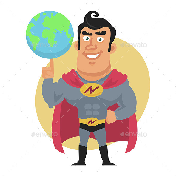 Superhero Holds Planet Earth on Finger - People Characters