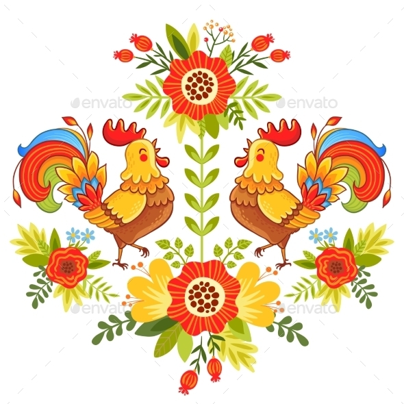 Folk Ornament with Flowers Traditional Pattern - Flowers & Plants Nature