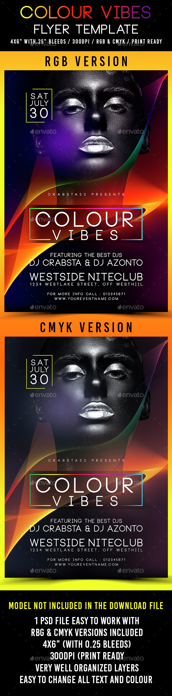 Colour Vibes Flyer Template - Clubs & Parties Events