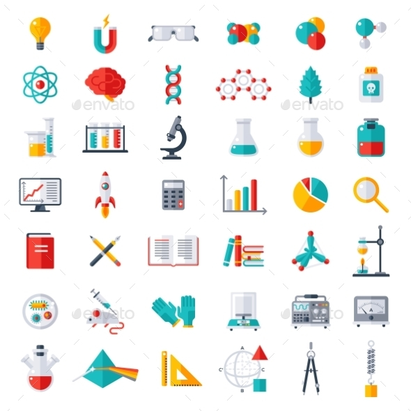 Physics, Chemistry, Biology Icons Set - Miscellaneous Conceptual