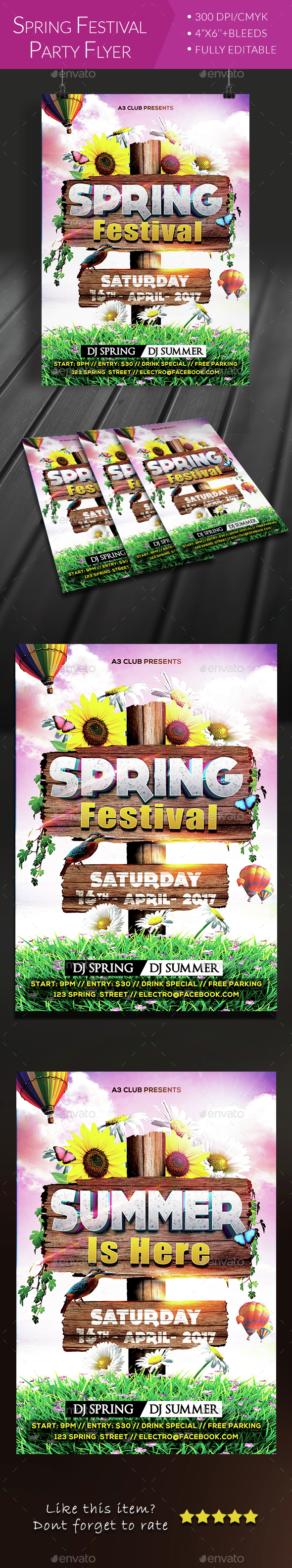 Spring Festival Party Flyer - Clubs & Parties Events