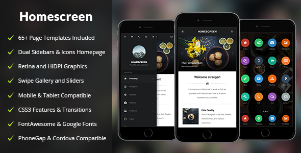Homescreen Mobile | Mobile Template - Mobile Site Templates