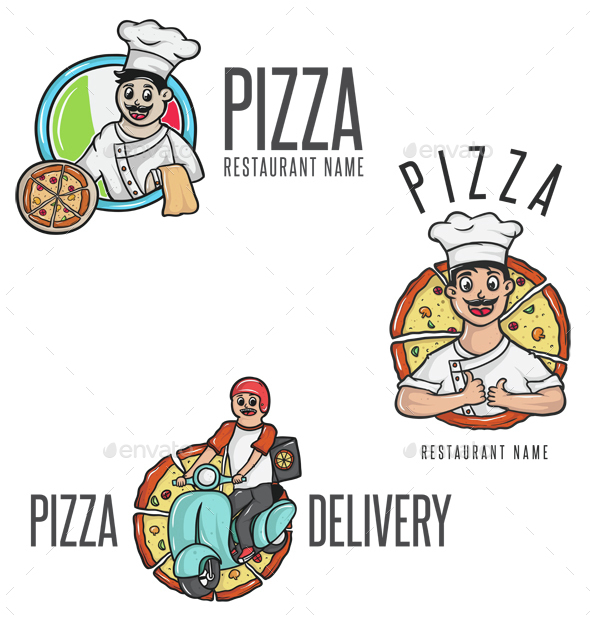 Happy Pizza Cartoon Mascot - People Characters