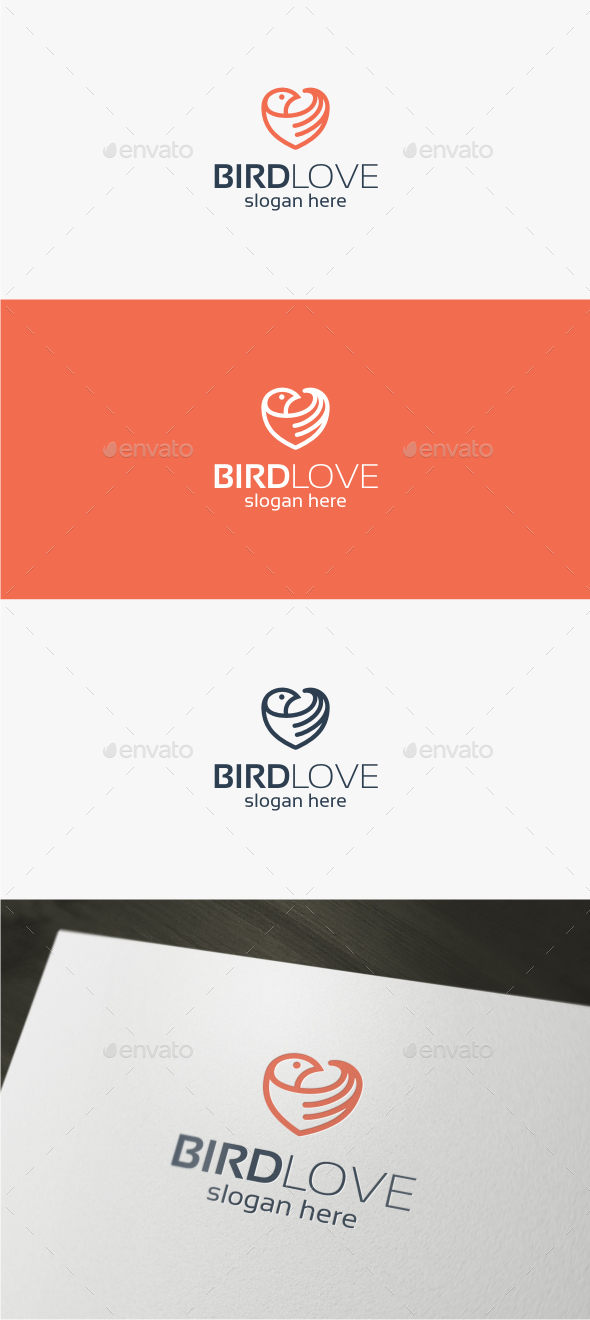 Bird Love Logo - Animals Logo Templates