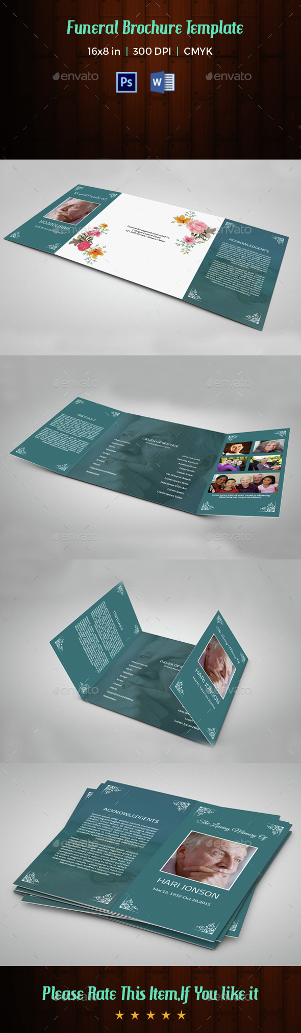 Funeral Program Template-V44 | MS Word & Photoshop Template - Informational Brochures