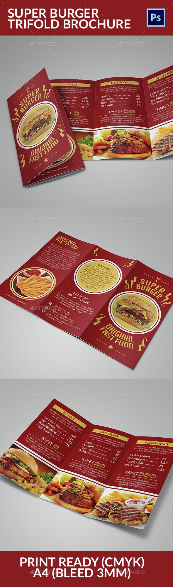 Super Burger Trifold Brochure - Food Menus Print Templates