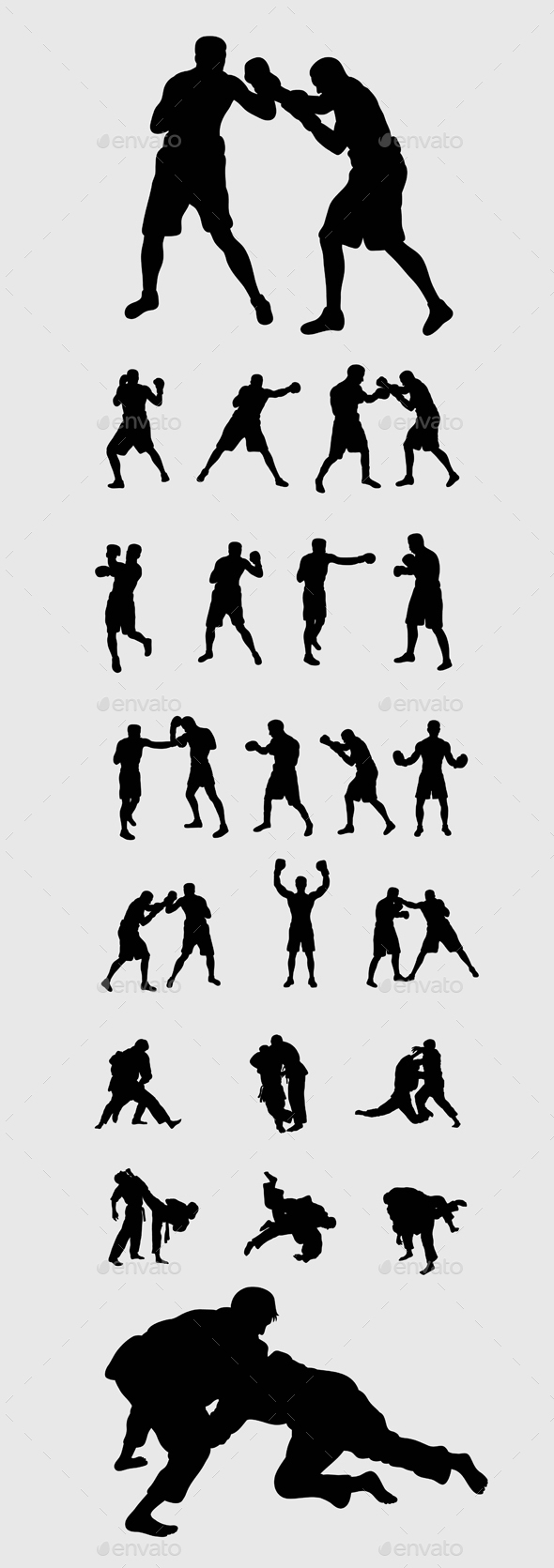 Judo and Boxing Silhouettes - Sports/Activity Conceptual
