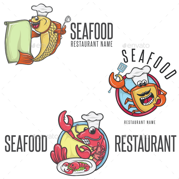 Seafood Cartoon Mascot Chef in Toque  - Animals Characters