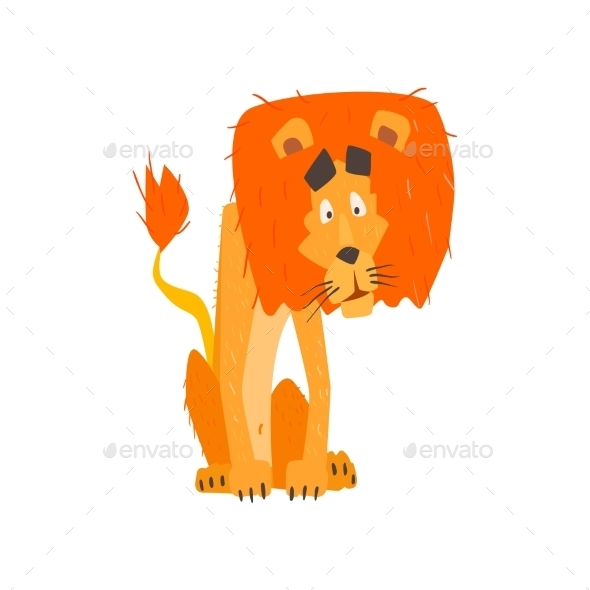 Confused Lion Flat Cartoon Stylized - Animals Characters