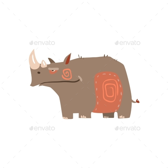 Rhino Standing Flat Cartoon Stylized - Animals Characters