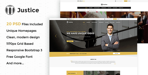 Justice – Multipurpose Business PSD Template