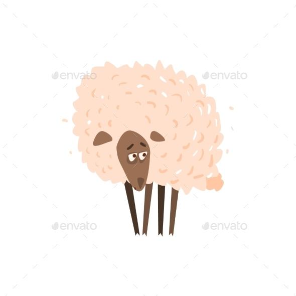 Sad Sheep Satanding Flat Cartoon - Backgrounds Decorative