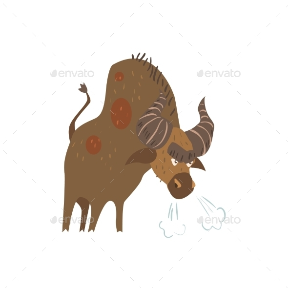 Standing Bull Flat Cartoon Stylized  - Animals Characters