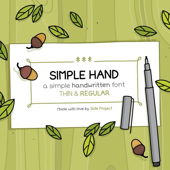 Simple Hand. Regular and Thin - Hand-writing Script