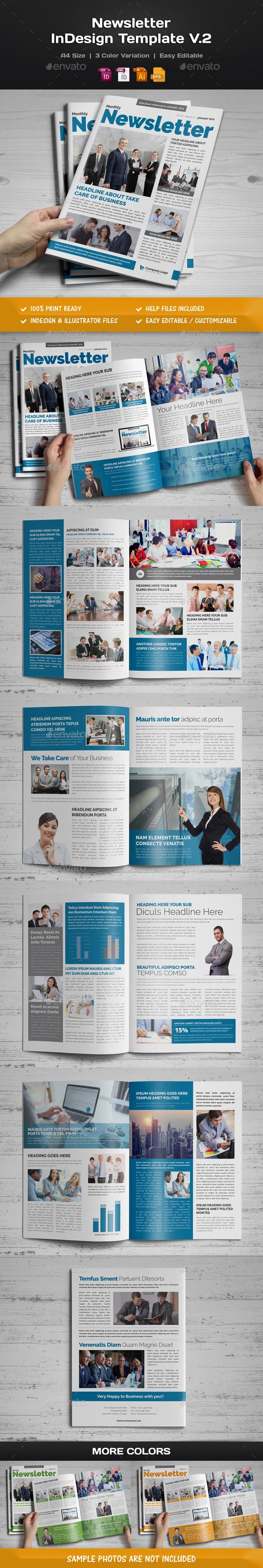 Newsletter Indesign Template v2 - Newsletters Print Templates