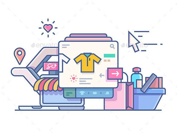 Shop Online Design Flat - Retail Commercial / Shopping