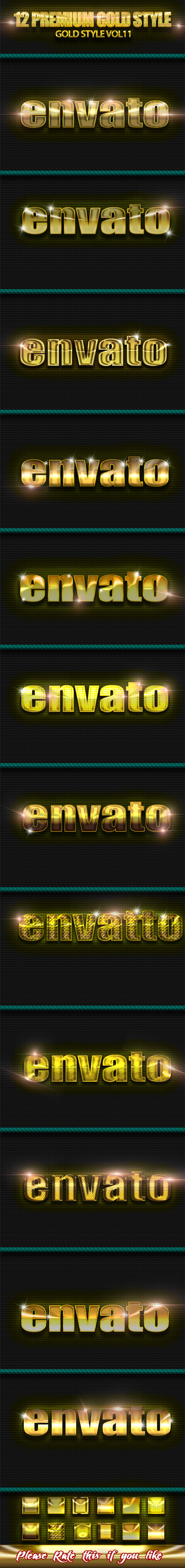 12 Photoshop GOLD Text Effect Styles Vol 11 - Text Effects Styles