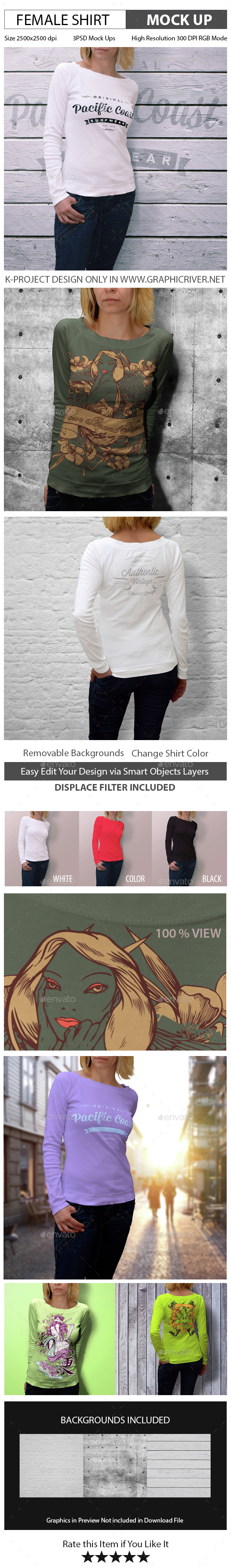 Female Shirt Mock Up - T-shirts Apparel