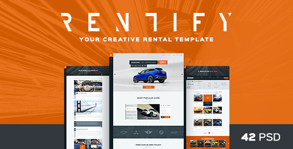 Rentify – Car Rental & Booking PSD Template