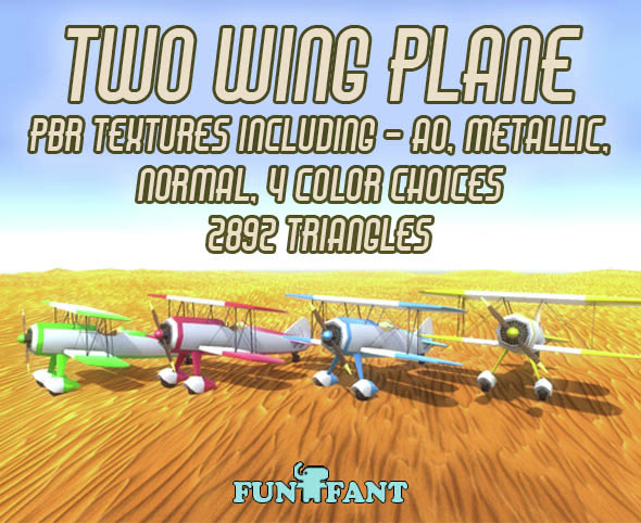 Two Wing Plane LP PBR - 3DOcean Item for Sale