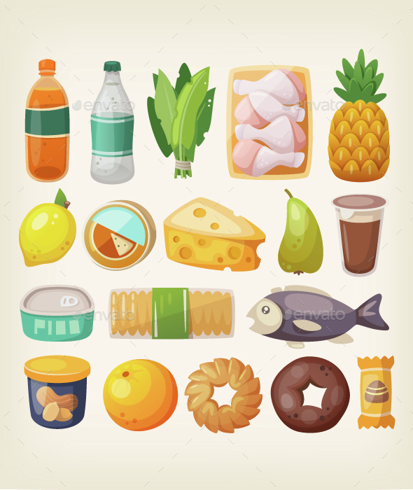 Colorful Product Icons - Food Objects
