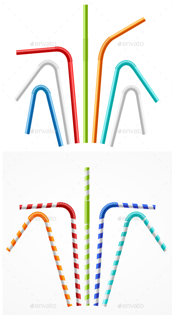 Colorful Drinking Straws Set - Man-made Objects Objects