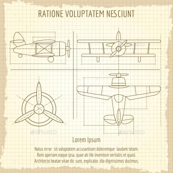 Aircraft Retro Blueprint Drawing - Miscellaneous Conceptual